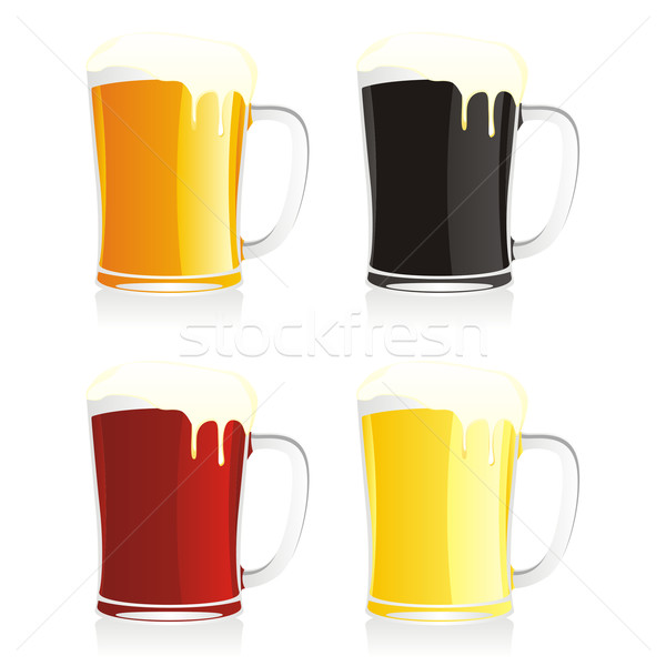 four isolated beer mugs Stock photo © PilgrimArtworks