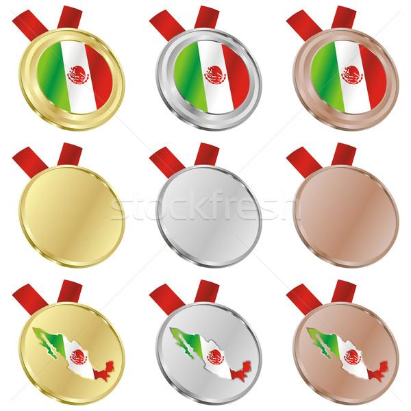 México vetor bandeira medalha formas Foto stock © PilgrimArtworks