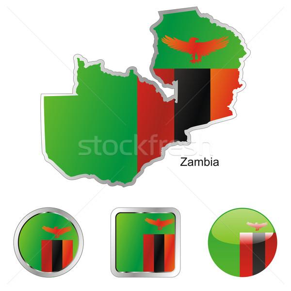 Замбия карта Интернет Кнопки форма флаг Сток-фото © PilgrimArtworks