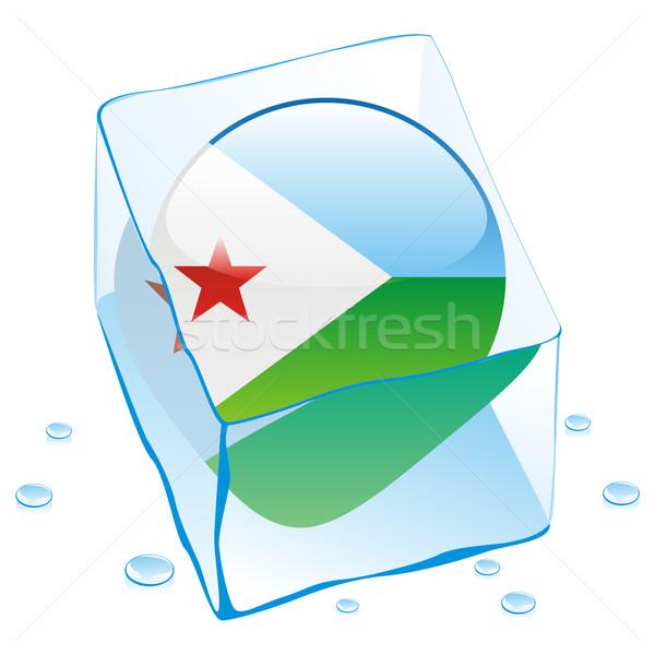 Dżibuti przycisk banderą zamrożone kostkę lodu Zdjęcia stock © PilgrimArtworks