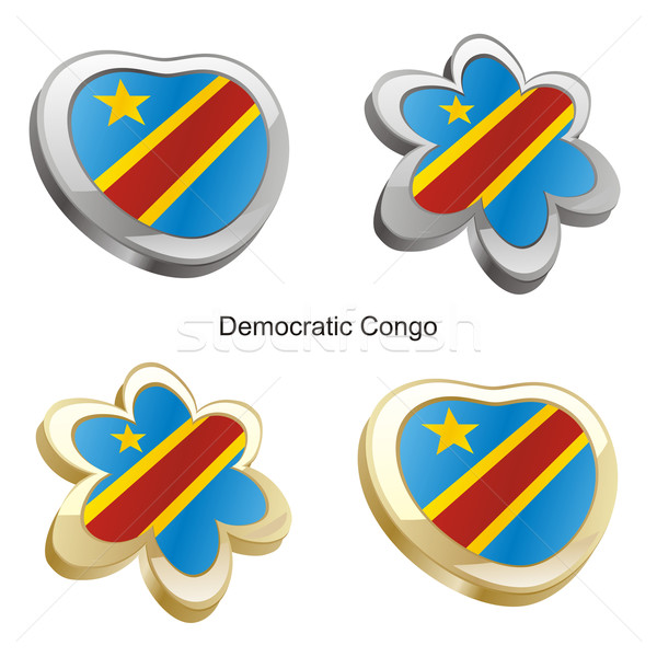 democratic congo flag in heart and flower shape Stock photo © PilgrimArtworks