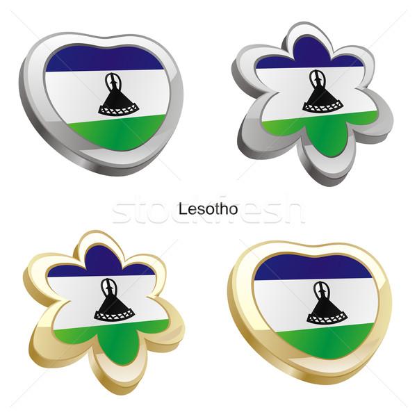 Lesotho banderą serca kwiat Zdjęcia stock © PilgrimArtworks