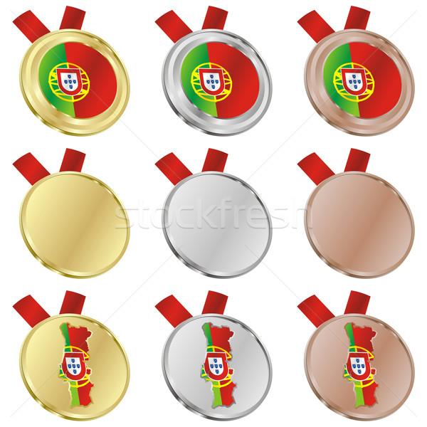 Portugal vector bandera medalla formas Foto stock © PilgrimArtworks