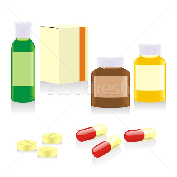 Izolált üvegek dobozok tabletták szerkeszthető Stock fotó © PilgrimArtworks