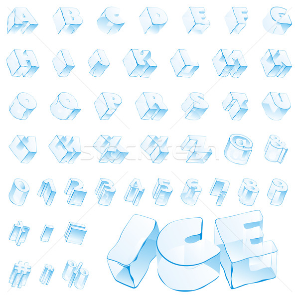 Stock photo: ice alphabet - capitals and numerals