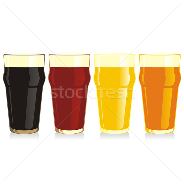 isolated beer glasses set Stock photo © PilgrimArtworks