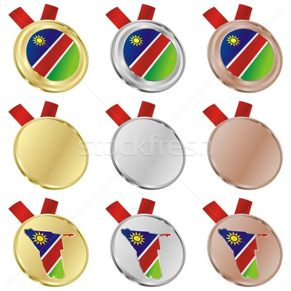 ナミビア ベクトル フラグ 金メダル ストックフォト © PilgrimArtworks