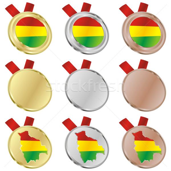 Bolívia vektor zászló érem formák szerkeszthető Stock fotó © PilgrimArtworks