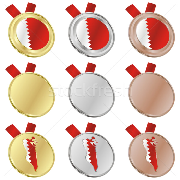 Bahrein vetor bandeira medalha formas Foto stock © PilgrimArtworks