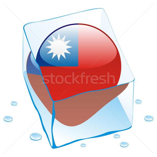taiwan button flag frozen in ice cube Stock photo © PilgrimArtworks