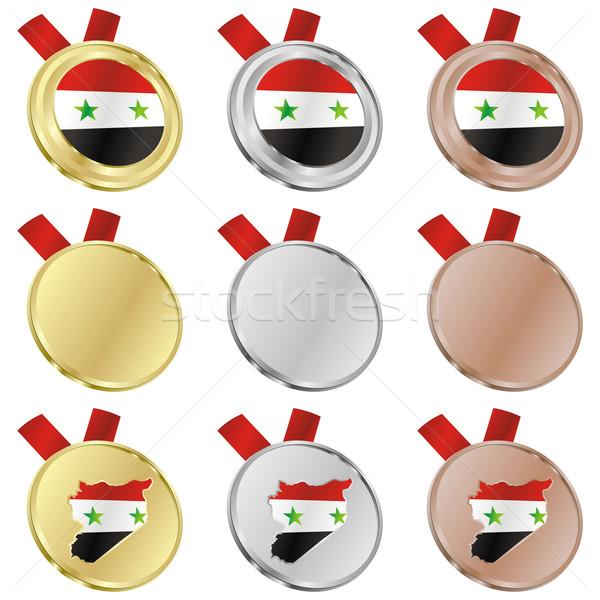 Síria vetor bandeira medalha formas Foto stock © PilgrimArtworks