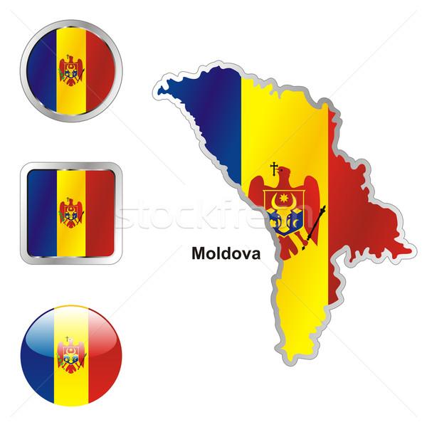 Moldova térkép háló gombok formák szerkeszthető Stock fotó © PilgrimArtworks
