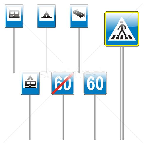 Izolált európai jelzőtáblák szerkeszthető utca kereszt Stock fotó © PilgrimArtworks
