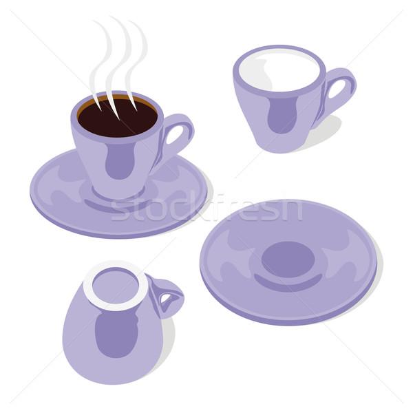 Eszpresszó csészék szerkeszthető izolált kávé csésze Stock fotó © PilgrimArtworks