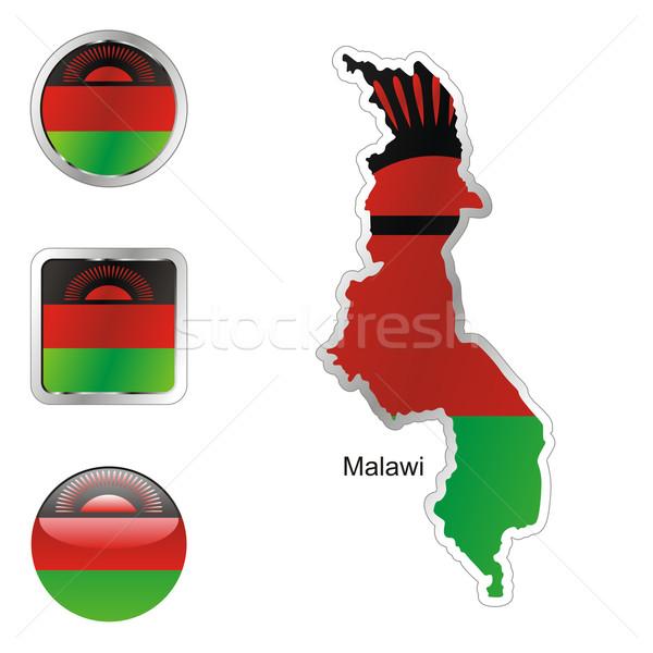 Malawi térkép háló gombok formák szerkeszthető Stock fotó © PilgrimArtworks