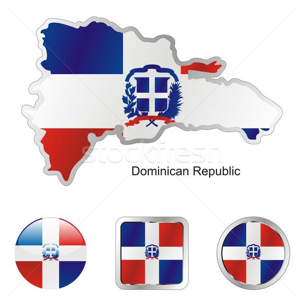 República Dominicana mapa teia botões formas Foto stock © PilgrimArtworks