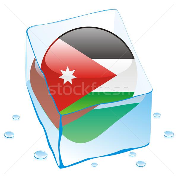 Jordánia gomb zászló fagyott jégkocka szerkeszthető Stock fotó © PilgrimArtworks