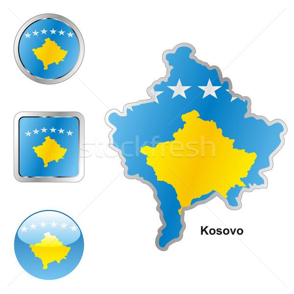 Kosovo mapa teia botões formas Foto stock © PilgrimArtworks