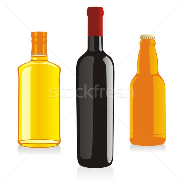 Photo stock: Isolé · alcool · bouteilles · plage · vin