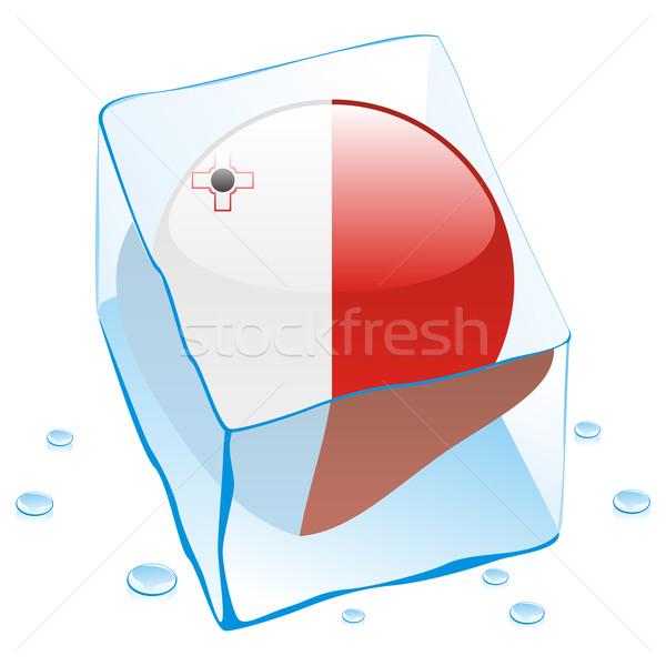Foto stock: Malta · botón · bandera · congelado · cubo · de · hielo