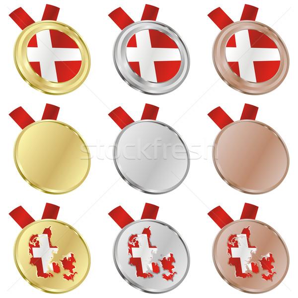 Dánia vektor zászló érem formák szerkeszthető Stock fotó © PilgrimArtworks
