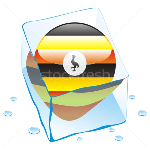 uganda button flag frozen in ice cube Stock photo © PilgrimArtworks