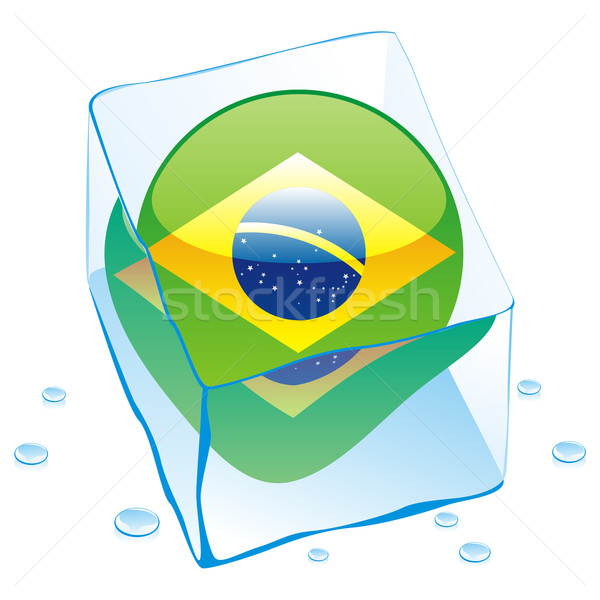 Бразилия кнопки флаг заморожены Ice Cube Сток-фото © PilgrimArtworks