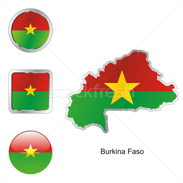 Burkina kaart internet knoppen vorm vlag Stockfoto © PilgrimArtworks