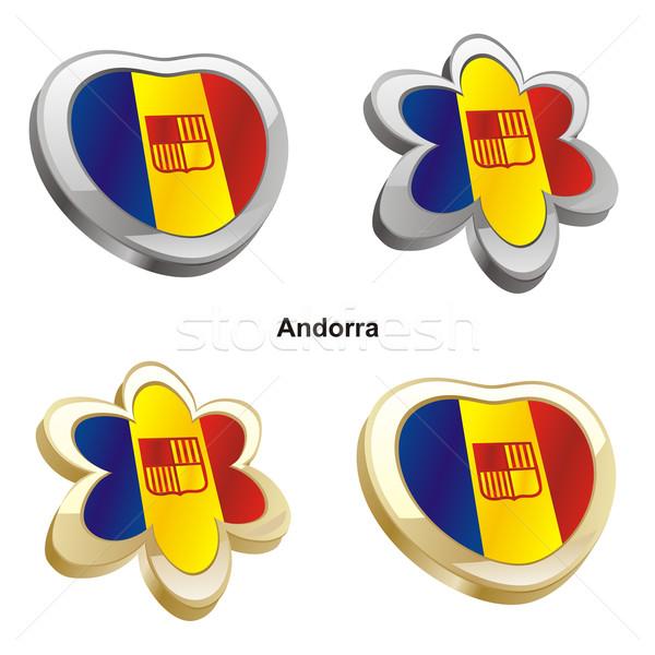 Andorra vlag hart bloem vorm Stockfoto © PilgrimArtworks