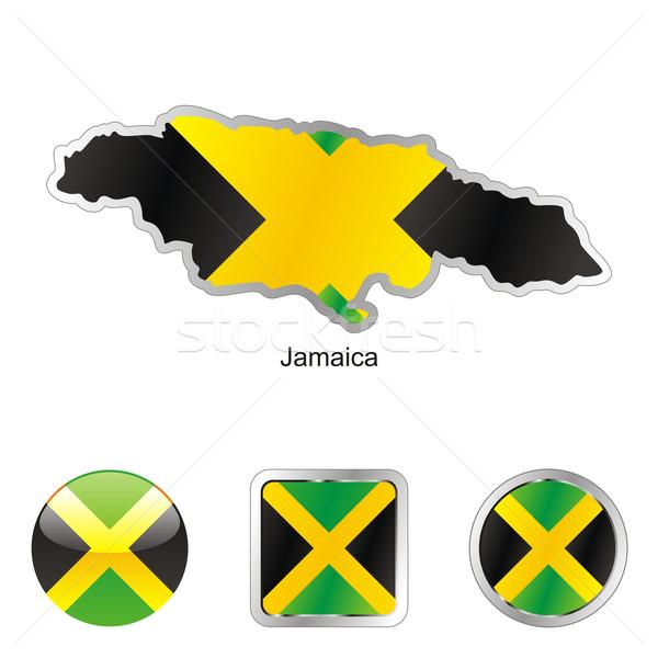 Jamaica kaart web knoppen Stockfoto © PilgrimArtworks