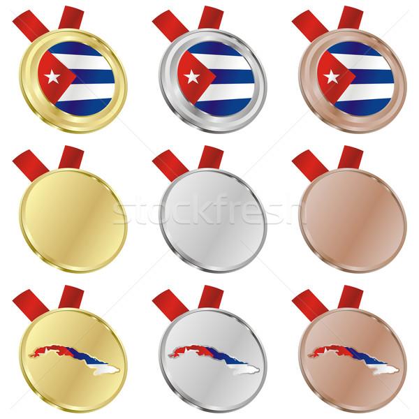 Kuba vektor zászló érem formák szerkeszthető Stock fotó © PilgrimArtworks