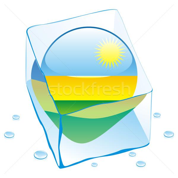 Rwanda knop vlag bevroren Ice Cube Stockfoto © PilgrimArtworks