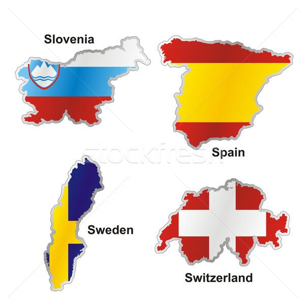 Foto stock: Aislado · internacional · bandera · mapa · forma