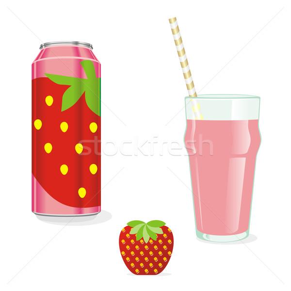 isolated strawberry juice and fruit Stock photo © PilgrimArtworks