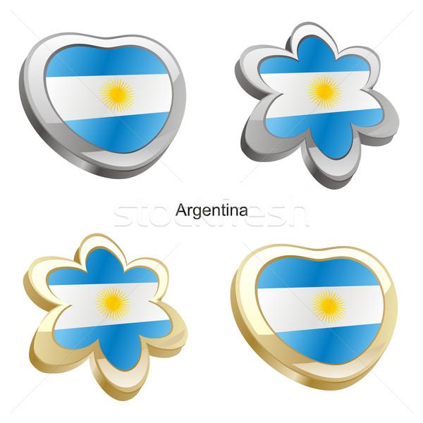 Argentine pavillon coeur fleur forme Photo stock © PilgrimArtworks