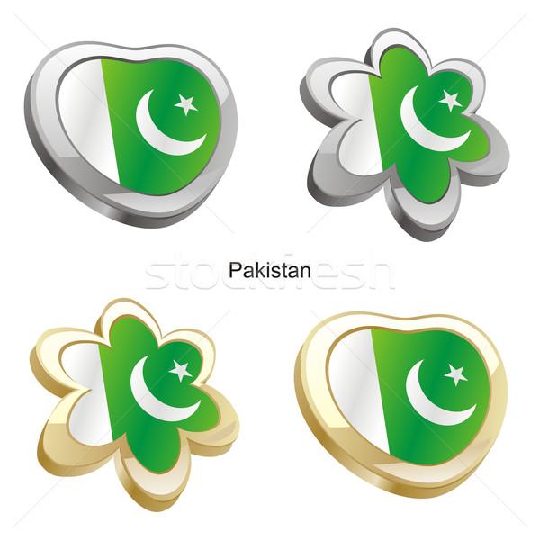 Pakistan bayrak kalp çiçek biçim düzenlenebilir Stok fotoğraf © PilgrimArtworks