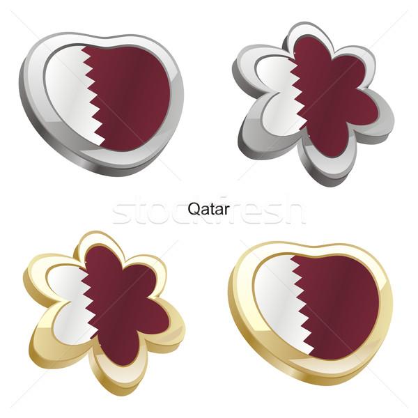 Katar bayrak kalp çiçek biçim düzenlenebilir Stok fotoğraf © PilgrimArtworks