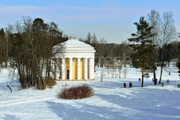 Winter landschap tuin tempel vriendschap Rusland Stockfoto © Pilgrimego