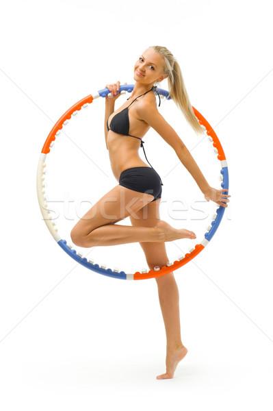 Stockfoto: Mooie · blond · gymnasium · sport · dragen