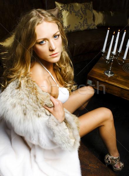 Stok fotoğraf: Kadın · portre · güzel · bir · kadın · lüks · iç · restoran