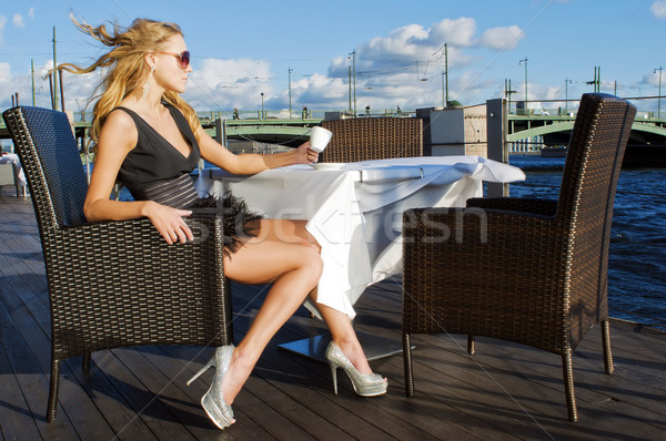 Stock photo: Coffe break at the river