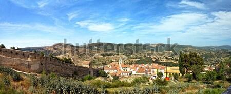 Stok fotoğraf: İspanya · manzara · kasaba · dağlar · panoramik · gökyüzü