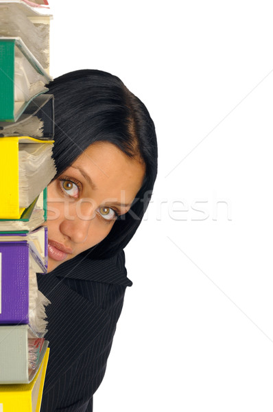 businesswoman with lot of documents Stock photo © Pilgrimego