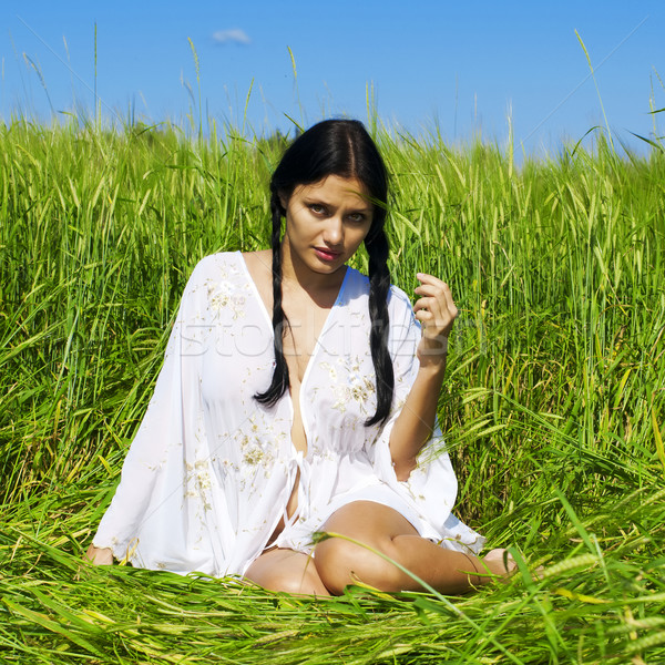 Stock photo: Woman at the rye field