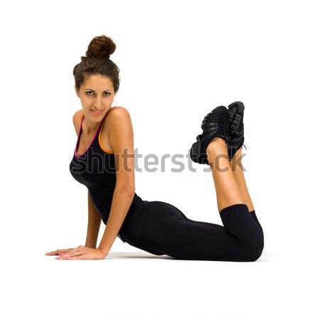 Gyönyörű nő készít fiatal gimnasztikai nő sport Stock fotó © Pilgrimego