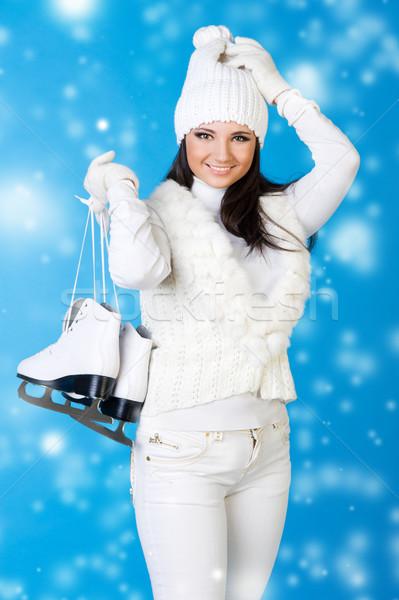 Güzel bir kadın kış elbise paten beyaz moda Stok fotoğraf © Pilgrimego