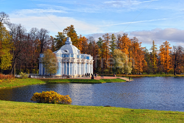 Autumn landscape with 'Grot' pavillion in Catherine garden, Push Stock photo © Pilgrimego