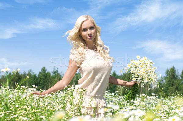 Verão retrato belo mulher jovem prado Foto stock © Pilgrimego