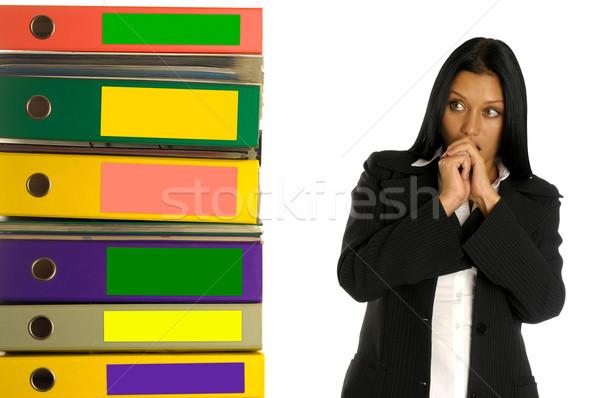 Nő gondolkodik munka gyönyörű üzletasszony köteg Stock fotó © Pilgrimego
