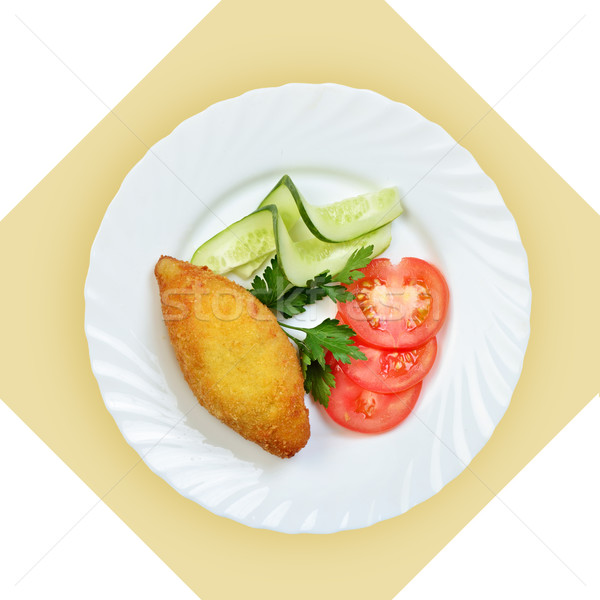 chicken Kiev cutlet with vegetables on white plate. Stock photo © Pilgrimego